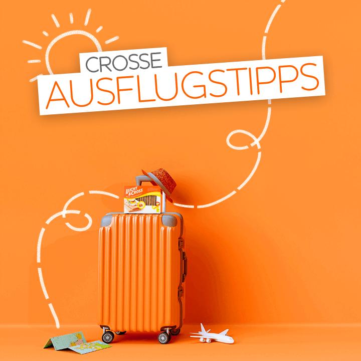 orangefarbener Koffer mit Hut, Karte und LEICHT&CROSS auf orangem Hintergrund